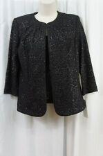 Alex Evenings Top Sz M Black Textured Glitter Sleeveless 2 PC Evening Jacket