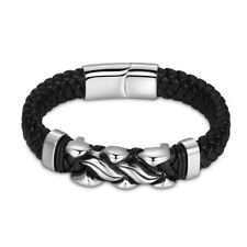 Mens Stainless Steel Multilayer Braided Woven Black Leather Bracelet + Box #B459