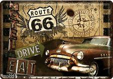 Nostalgic Art CARTE POSTALE en tôle/métal Route 66 DRIVE manger Trip aventure