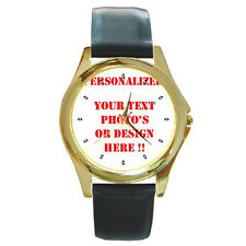 New Personalized Custom Logo, Design, Your Photo or Text Round Gold Metal Watch