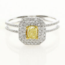Real 0.75ct Natural Fancy Yellow Diamonds Engagement Ring 18K Solid Gold Cushion
