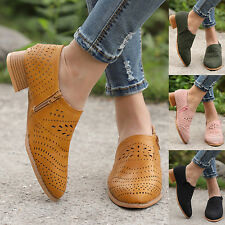 49ef927c113 Ladies Womens Mid Heels Ankle Boots Zipper Low Shoes Wedge Size Loafers  Pumps US