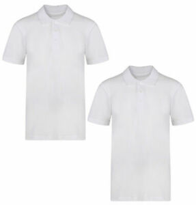 2 Pack Boys Plain 100/% Cotton Ages 3-16y Polo Shirts Children School T-Shirt Uniform Summer