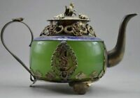 Collectible Decorated Old Handwork Jade & Tibet Silver Dragon Tea Pot Monkey NER