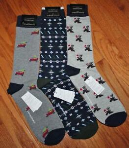 3 Pair NWT Mens Banana Republic Casual Dress Socks Christmas Trees Reindeer *2U
