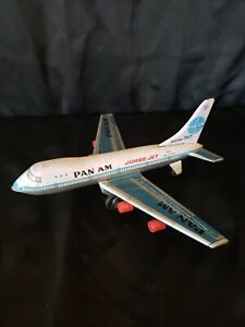 Vintage  Tin Pan American AM Boeing Friction Jet Airplane Toy -