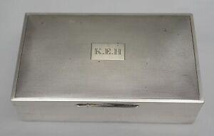 "6 ¼"" vintage English sterling silver cigarette box, B.1960, total 522g."