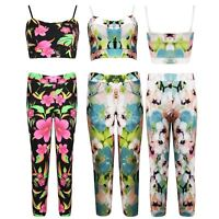 Womens Ladies Bralet Crop Top Floral Cami Pants Trousers Leggings Set