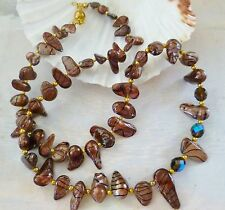 TIGER STRIPED CHOCOLATE Freshwater Pearl Necklace Gold Tone Strand 55cm long