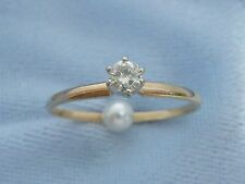 Vintage 14K Yellow Gold Engagement Ring, 3.2mm round Diamond, TCW .14, size 6.25