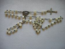 """Antique delicate child Rosary, carved MOP,only 18"""" long"""