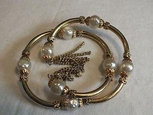 Collectible Wrap Bracelet Goldt Tone Faux Pearl Beads Dangling Chains UNIQUE