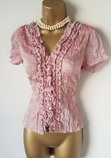 Gothic Dusty Pink Sheer Ruffle Blouse 12 Vintage Victorian Romantic Steampunk