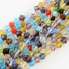 Glass Beads Faceted Bicone Mixed Color 4mm diameter hole 1mm about 83 pcs strand
