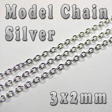 HOBBY MODELLO CHAIN - 3mm x 2mm-argento color-al metro