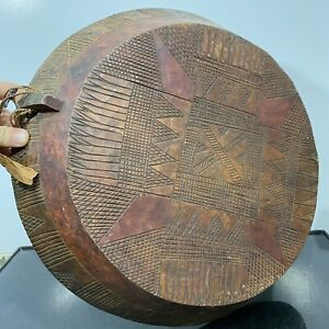 Vintage Hand Carved Engraved Ethnic Wood Dugout Bowl Dish