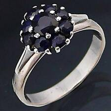 Low set 9 Natural BLUE SAPPHIRE 18ct Solid WHITE GOLD CLUSTER RING Sz N1/2