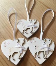 3 X Reindeer Christmas Decorations Stag Shabby Chic Real Wood Heart White Bows