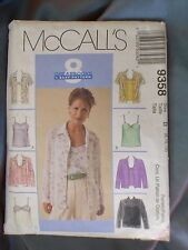 1998 McCall's Sewing Pattern 9358 Size B 8, 10, 12 Misses Shirt & Camisole
