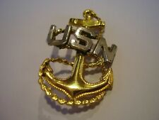 """US Navy Pin Gold Tone Anchor with """"USN"""" Letters in Silver Tone"""