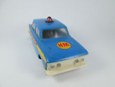 Old vintage friction toy Moskvich Ussr police car Blue National Police plastic
