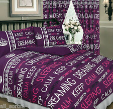 KEEP CALM AND CARRY ON DREAMING PLUM PURPLE BERRY DOUBLE BED DUVET SET