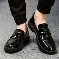 Mens Patent Leather Business Formal Dress Slip On Loafer Shoes Dress Creepers