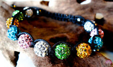 10mm Shamballa bracelet multicolored with rhinestone and hematite