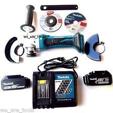 """Makita XAG01 18V Cordless Grinder, (2) BL1830 Batteries, Charger  4 1/2"""" 18 Volt"""