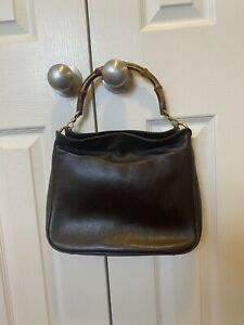 GUCCI BROWN BAMBOO HANDLE BAG VINTAGE DIANA LEATHER SATCHEL