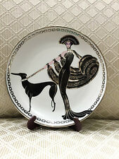 """House of Erte Collectable Porcelain Plate, """"Symphony in Black"""" LB5211 w/ Stand"""
