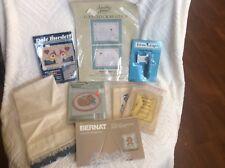 Lot of Vintage Cross Stitch Kits, Fabric, Floss Winder Plus