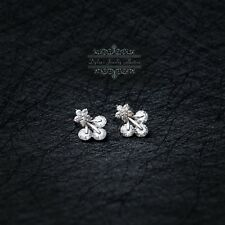 Stud Swarovski Elements Earrings New Sterling Silver S925 Clear Cherry Crystals