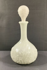 Vintage White Milk Glass Embossed Leafy Decanter With Stopper