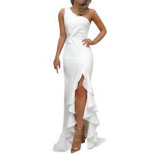 Womens One Shoulder Ruched Ruffle Formal Evening Dress Slim Maxi Dresses DA
