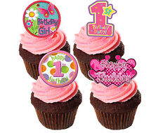 1st Birthday Girl Edible Cupcake Toppers,  Pink Stand-up Fairy Cake Decorations