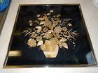 Vintage Metallic Potted Flowers Foil Print Glass Picture. Kafka Industries 1981