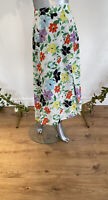 Neon Rose Maxi Skirt Eliza Size XS 8 White Skirt Floral Print Front Split EW38