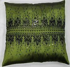 RICH OLIVE GREEN BLACK SEQUINED LUXURY SATIN CUSHION COVER £5.99 FREE POSTAGE