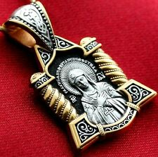 RUSSIAN GREEK ORTHODOX PENDANT SILVER 925+999 GOLD.MOTHER OF GOD ICON , PRAYER
