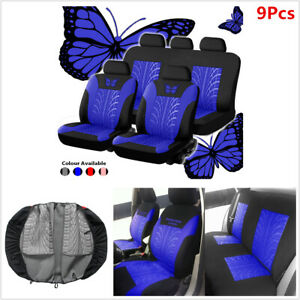 Full Set Butterfly-Pattern Car Front Back Seat Covers Protector Durable 4-Season