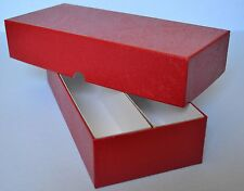 "RED DOUBLE ROW STORAGE BOX FOR 2X2 CARDBOARD COIN HOLDERS  - 10""X4""X2"""