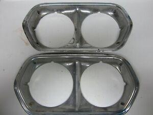 72 Ford Gran Torino Ranchero RH LH Chrome Headlight Headlamp Door Bezels USED