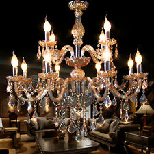 Amber 12 Arms Candle Crystal Chandelier Indoor Light Pendant Light Wall Fixture