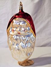 Old World Christmas Large Santa Head blown glass silvered hand painted ornament