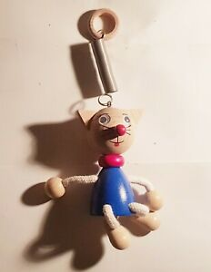 Federpuppe federnde Puppe Katze Figur Holz Holzfigur hüpft Hüpfpuppe NEUWERTIG
