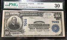 1902 Alexandria, VA $10 National Currency PMG VF30
