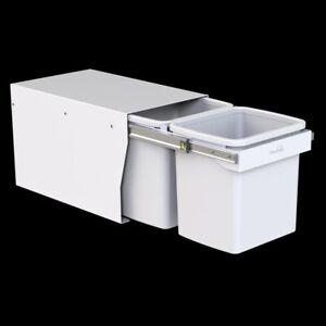 Hideway Waste Bin 2 x 15L Bucket, Base Mount Handle Pull, White KCF215SCH