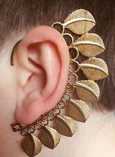 BRASS FEATHER/LEAF EAR CUFF - PIXIE, STEAMPUNK, FAKE EARRING, CLIP ON STUD, WRAP