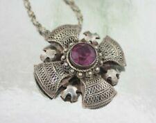 Vintage Filigree Cross Amethyst Pendant Necklace Sterling Fine Silver 995